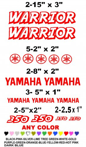 YAMAHA WARRIOR STICKER DECALS  RACE QUAD