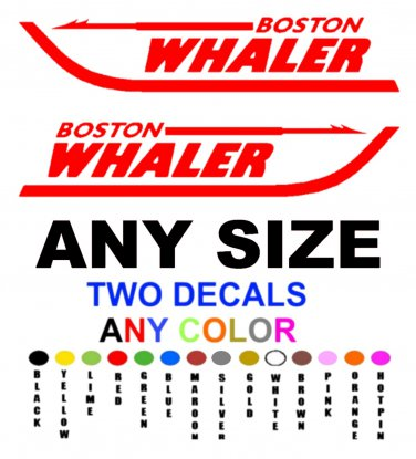 BOSTON WHALER STICKERS DECALS **PAIR** ANY COLOR ANY SIZE