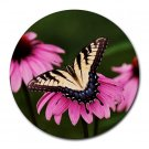 Yellow Butterfly 1 Round Mouse Pad
