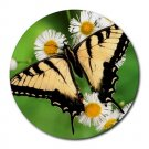 Yellow Butterfly 2 Round Mouse Pad