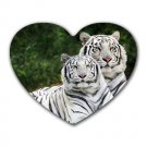 White Tigers Heart-shaped Mouse Pad