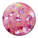 """Crystal Pink Love"" Round Mouse Pad"