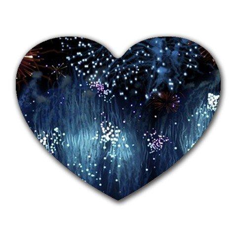 """Blue Rain"" Heart-shaped Mouse Pad"