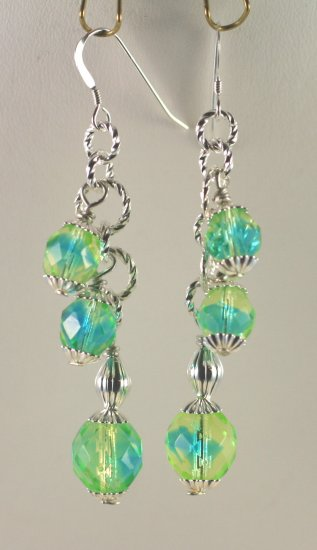 Sterling Silver Yellow and Teal Czech Glass Dangle Earrings   Hand Crafted Jewelry