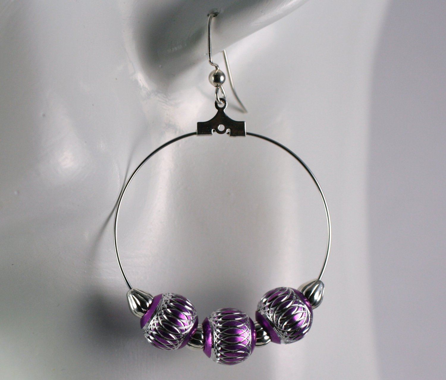 Silver Hoop Earrings with Silver and Pink Beads 1.5 in. Diameter  Handcrafted Jewelry