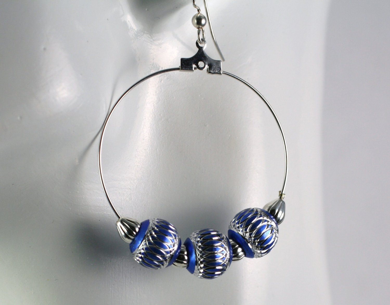 Silver Hoop Earrings with Silver and Blue Beads 1.5 in. Diameter  Handcrafted Jewelry