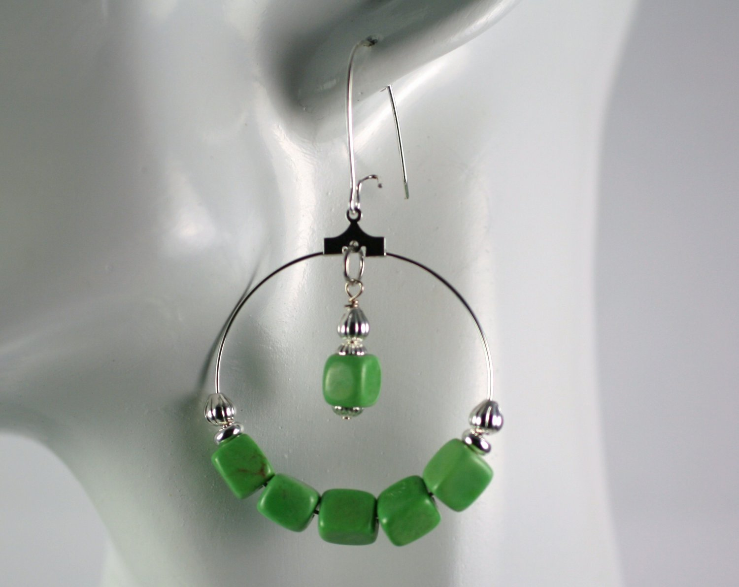 Silver Hoop Earrings with Green Turquois Cube Beads 1.5 in.  Handcrafted Jewelry
