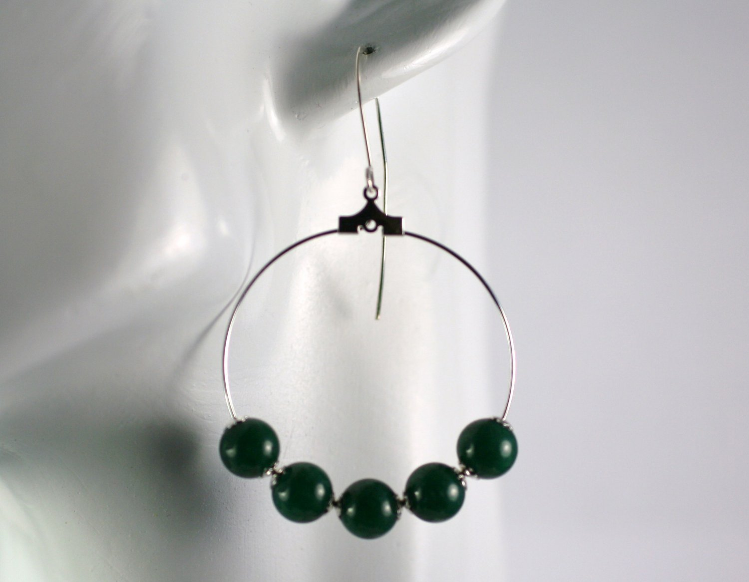 Silver Hoop Earrings with Green Mountain Jade Beads 1.5 in.  Handcrafted Jewelry