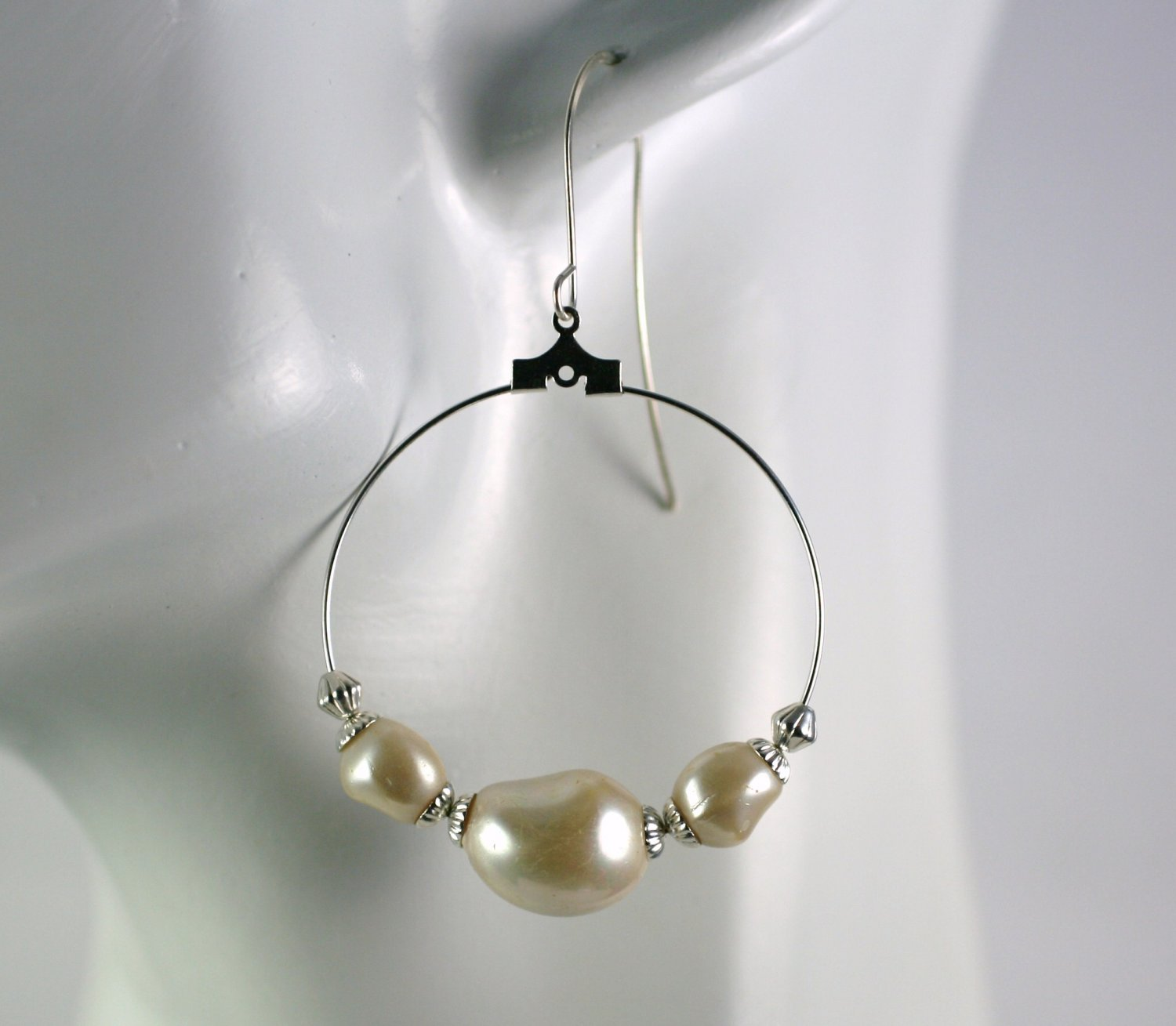 Silver Hoop Earrings with White Faux Pearl Beads 1.5 in.  Handcrafted Jewelry