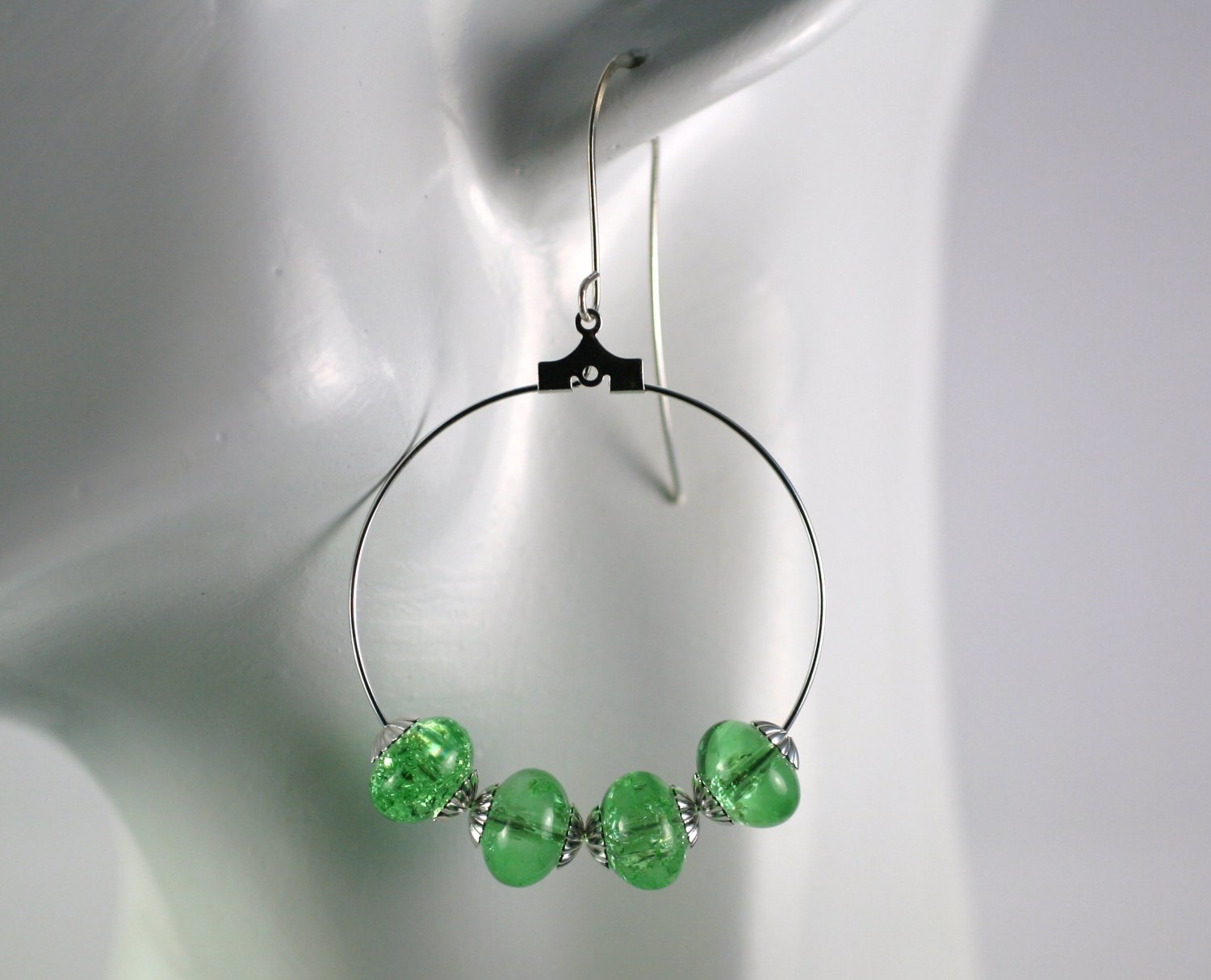 Silver Hoop Earrings with Green Crackled Glass Beads 1.5 in.  Handcrafted Jewelry