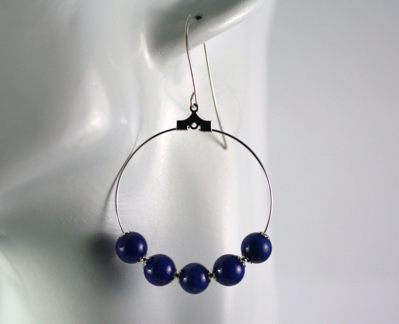 Silver Hoop Earrings with Dark Blue Mountain Jade Beads 1.5 in.  Handcrafted Jewelry
