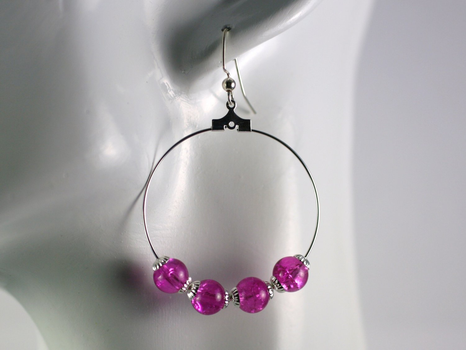Silver Hoop Earrings with Pink Crackled Glass Beads 1.5 in.  Handcrafted Jewelry