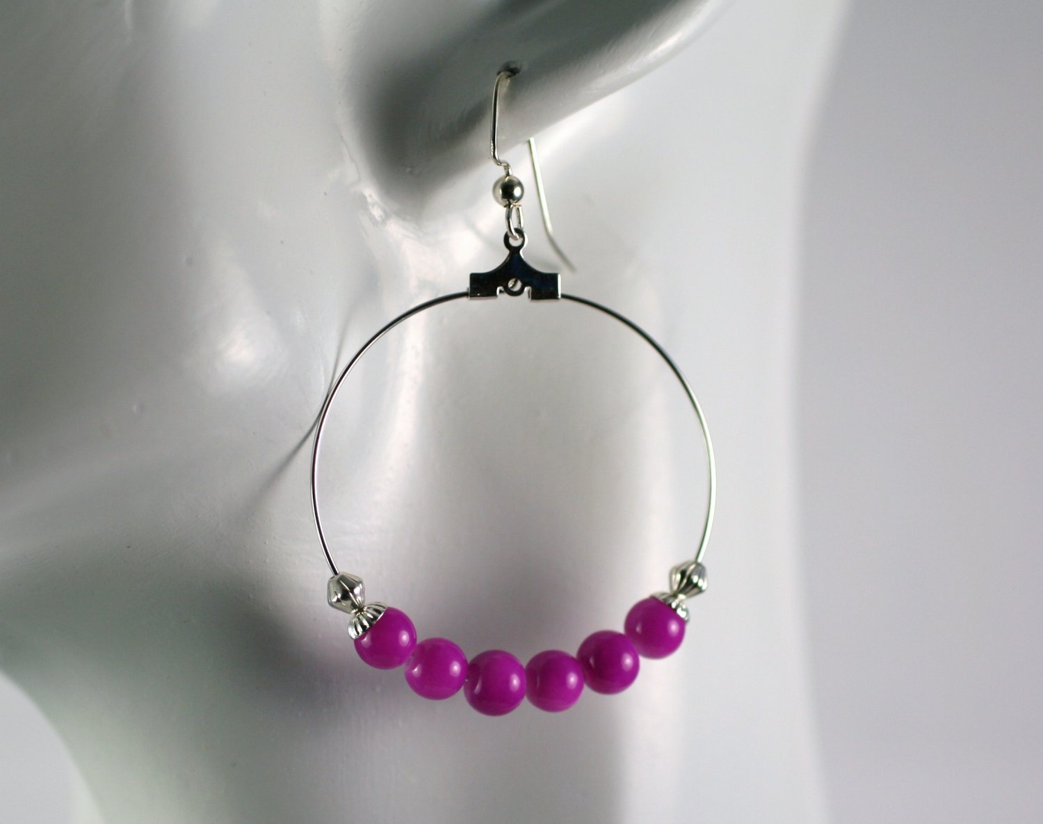 Silver Hoop Earrings with Pink Glass Beads 1.5 in.  Handcrafted Jewelry