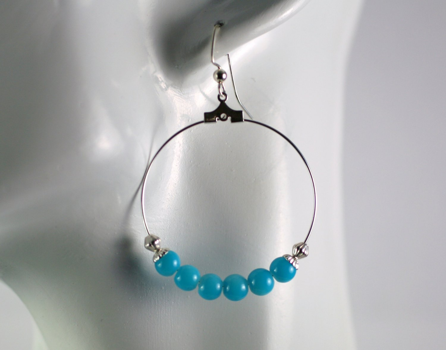Silver Hoop Earrings with Blue Glass Beads 1.5 in.  Handcrafted Jewelry