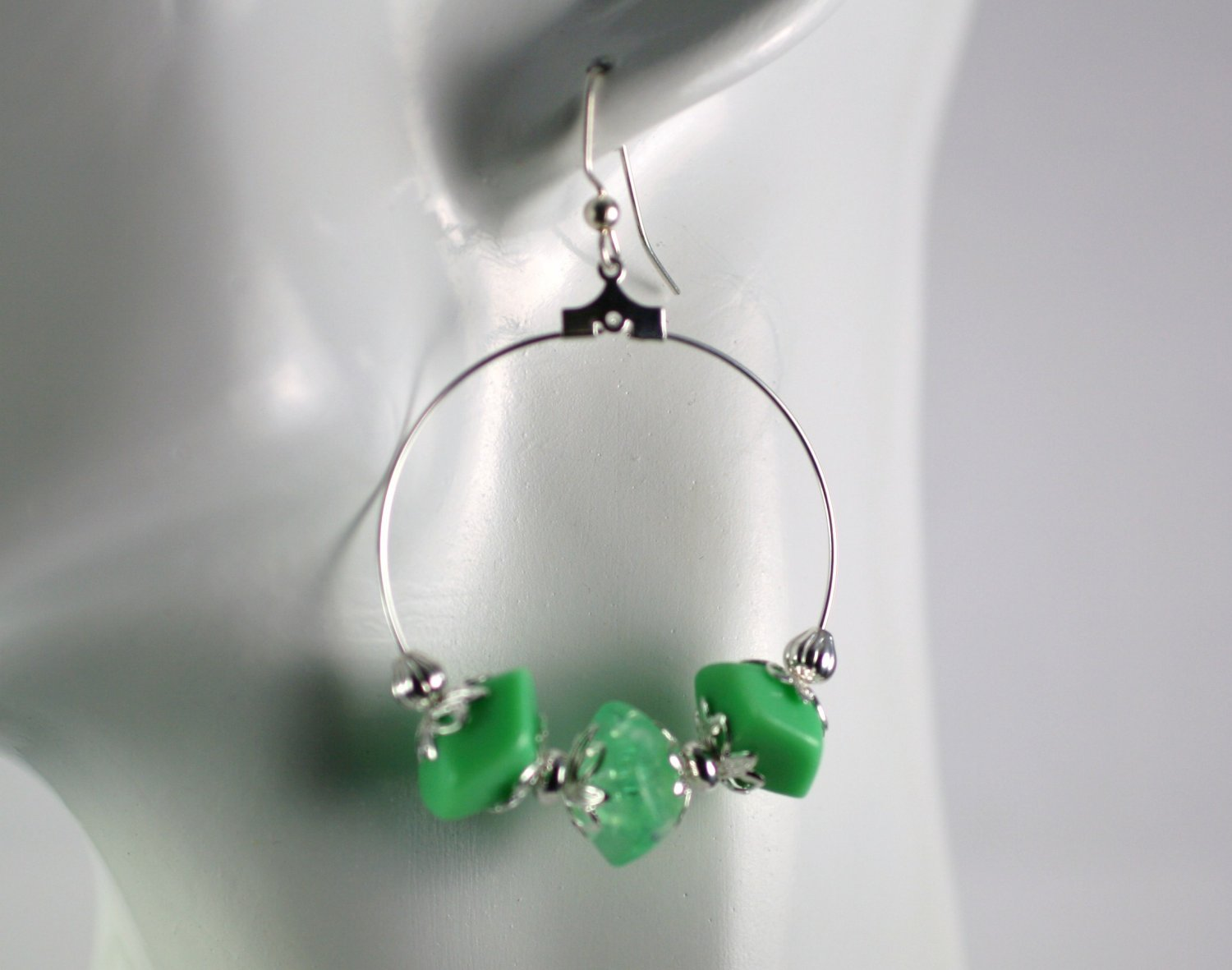 Silver Hoop Earrings with Green Vintage Beads 1.5 in.  Handcrafted Jewelry