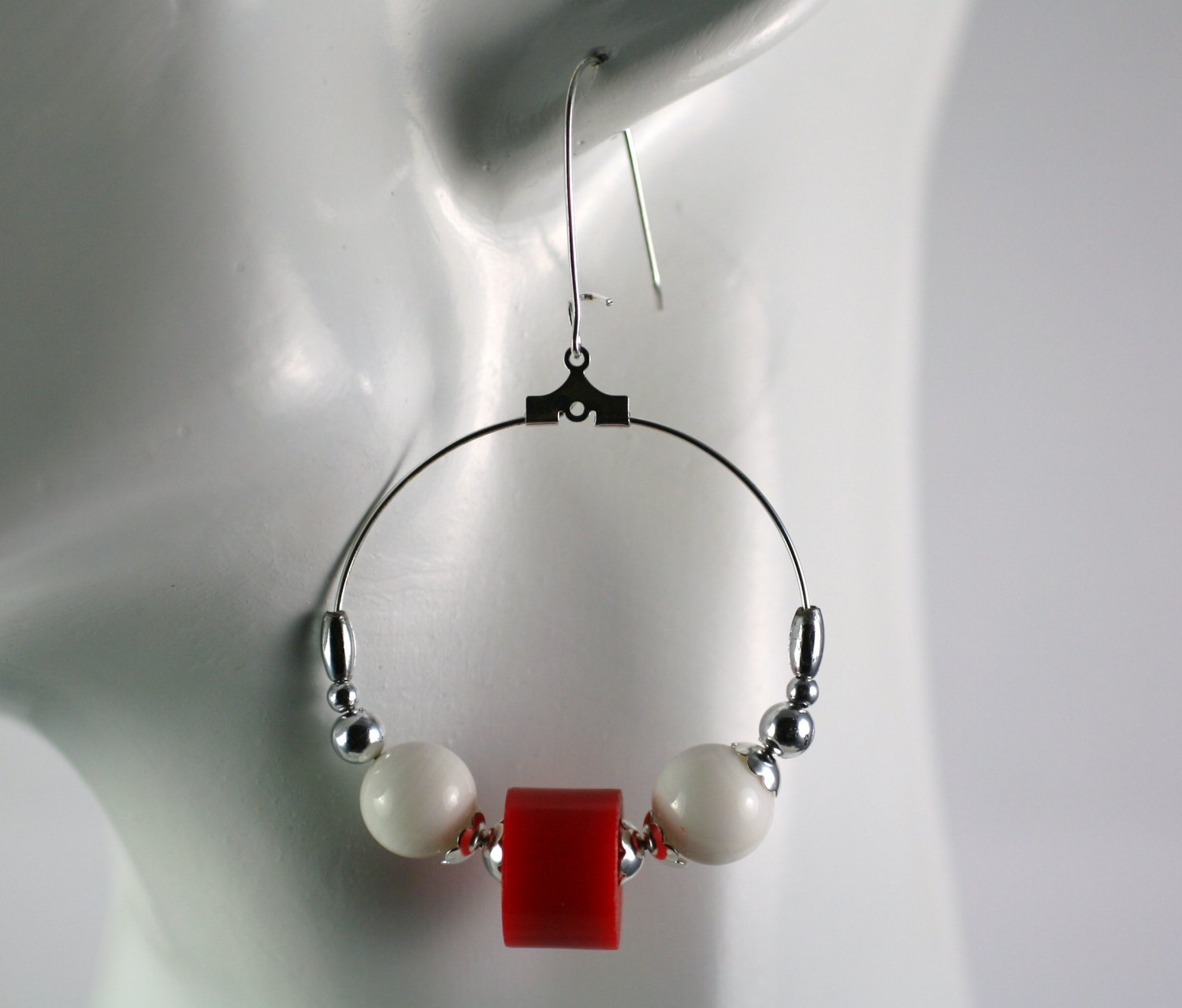 Silver Hoop Earrings with Red and White Vintage Beads 1.5 in.  Handcrafted Jewelry