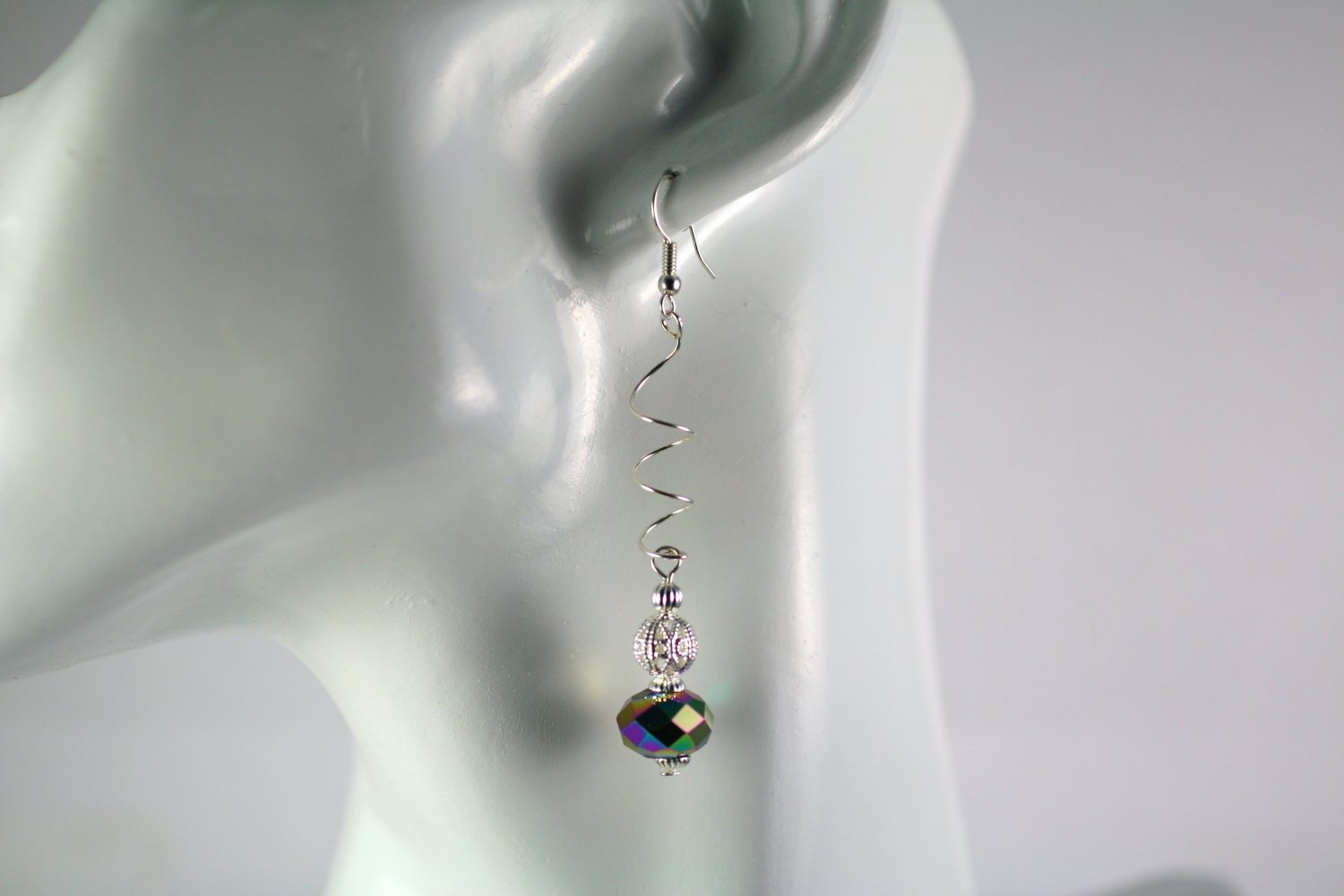 Silver Spiral Drop Dangle Earrings with  Carnival Glass Beads Handcrafted Jewelry