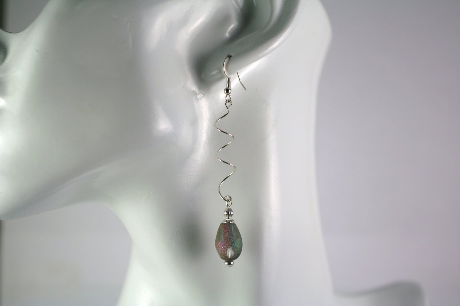 Silver Spiral Drop Dangle Earrings with  Gray Glass Beads Handcrafted Jewelry