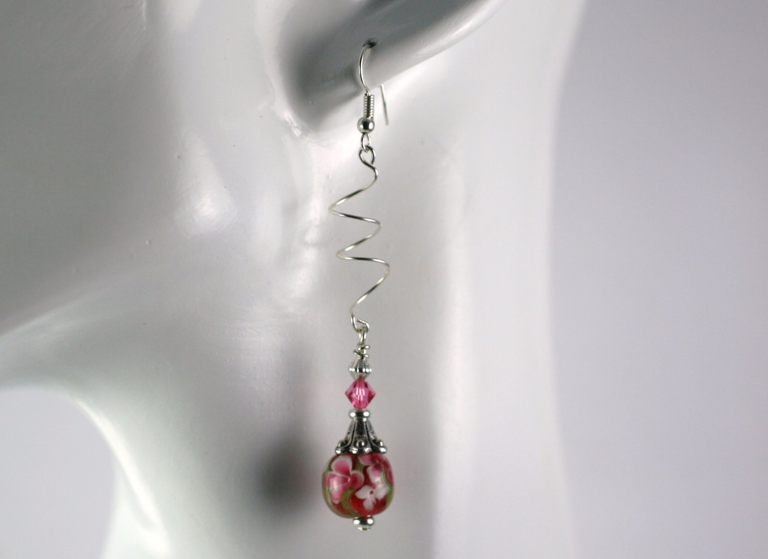 Silver Spiral Drop Dangle Earrings with  Pink Pansy Lampwork Beads Handcrafted Jewelry