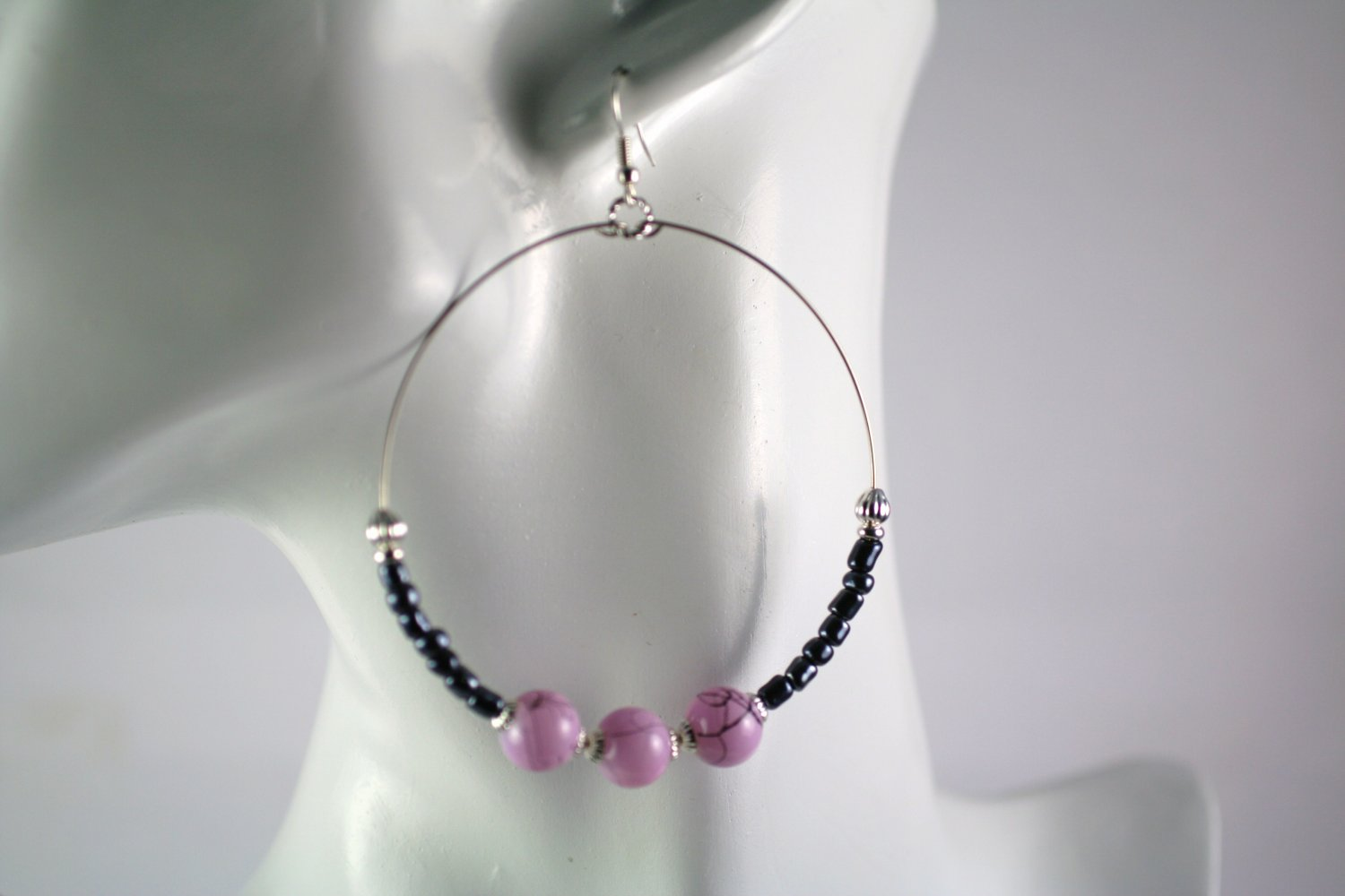 Large Silver Hoop Earrings with Purple and Black  Glass Beads  2.5 in.  Handcrafted Jewelry