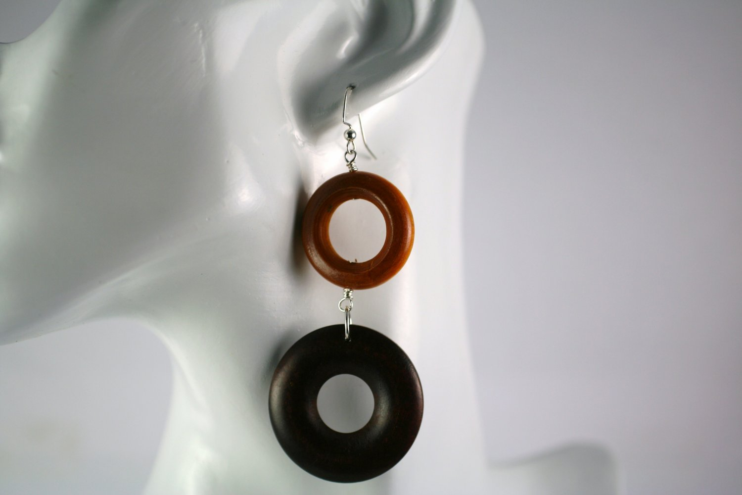 Silver and Wood Double Hoop Dangle Earrings Beads Handcrafted Jewelry