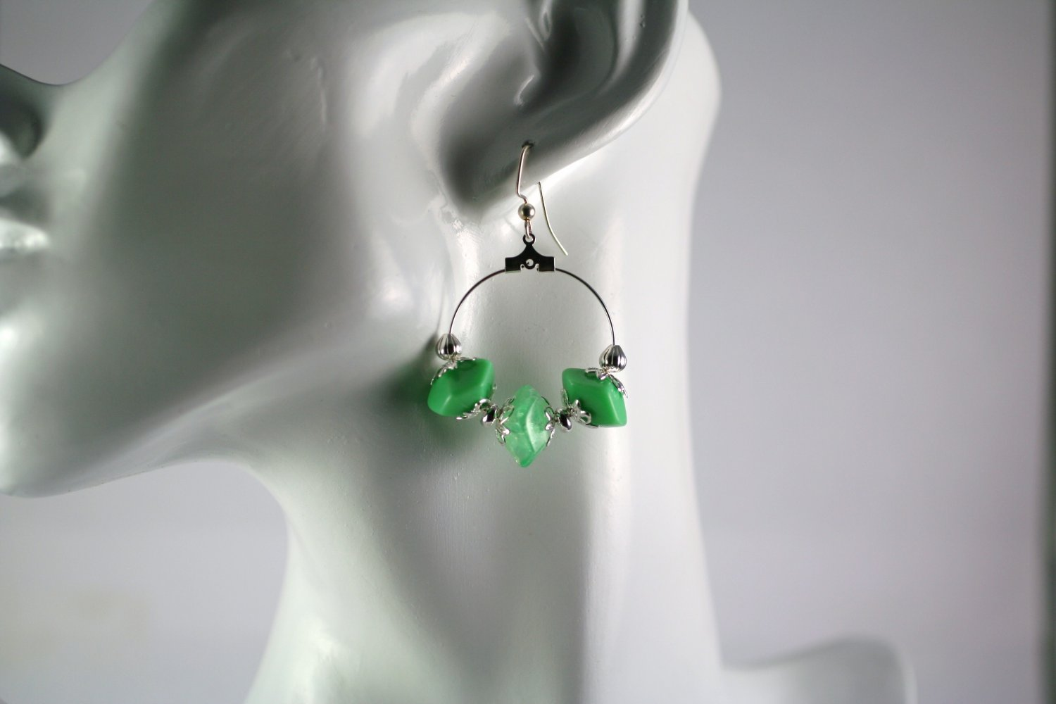 Silver Hoop Earrings with Green Vintage Beads 1 in.  Handcrafted Jewelry