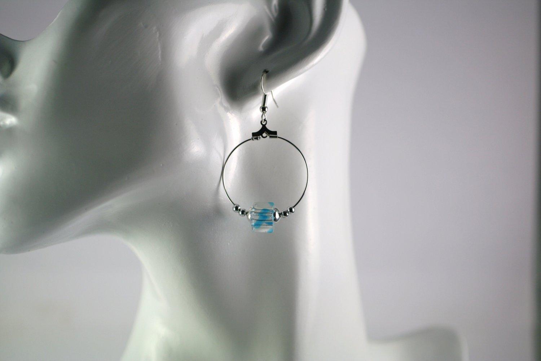 Silver Hoop Earrings with Blue Swirl Cube Beads 1 in. Diameter  Handcrafted Jewelry