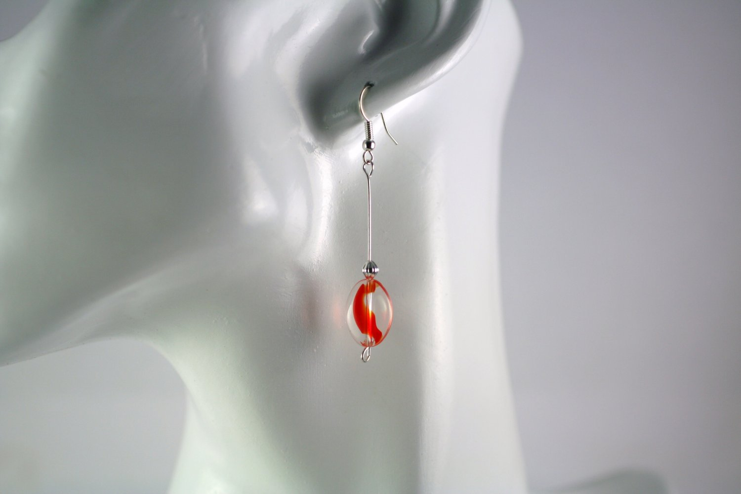 Silver Straight Drop Dangle Earrings with  Red Oval Glass Beads Handcrafted Jewelry
