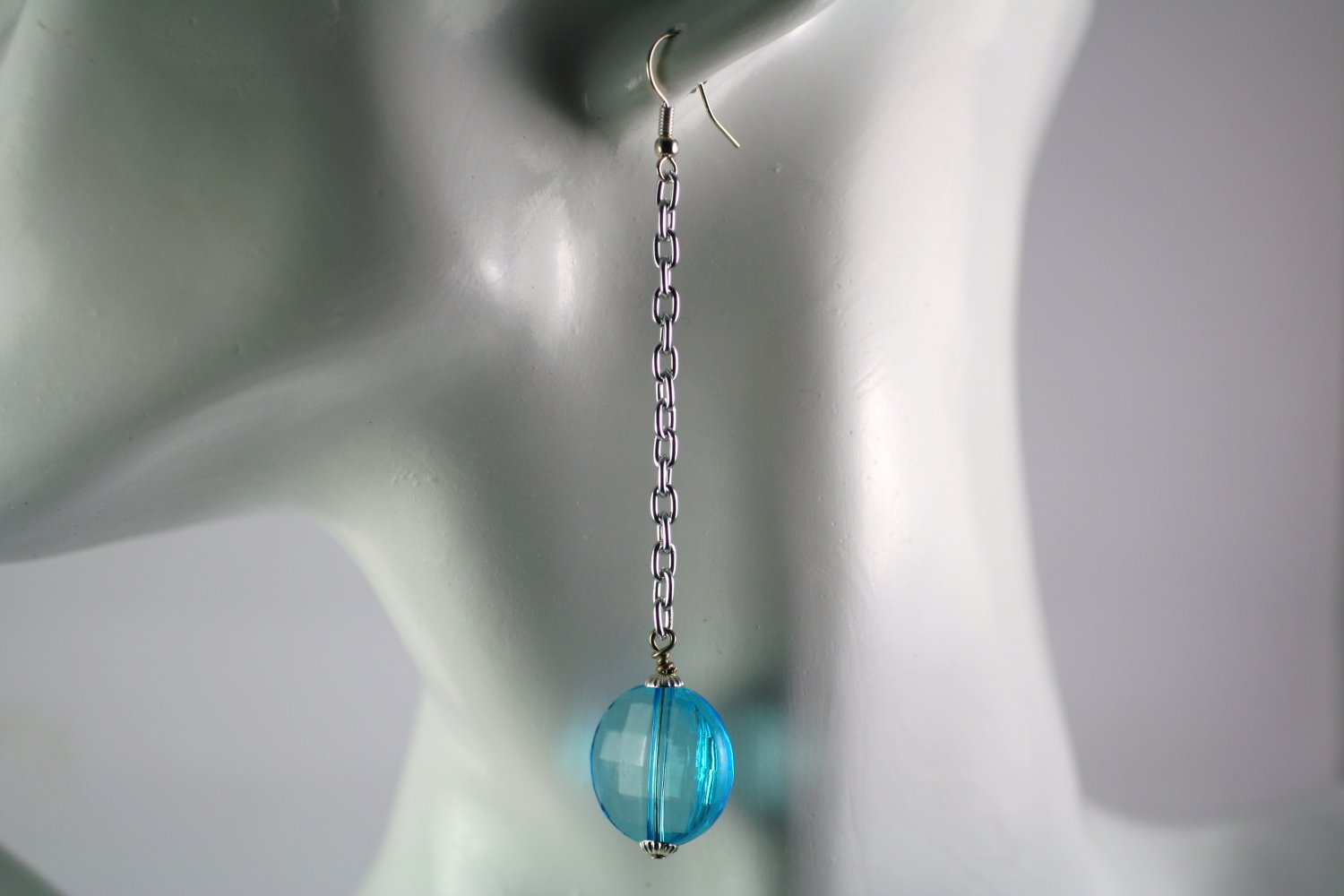 Silver Chain Drop Dangle Earrings with Blue Disc  Beads Handcrafted Jewelry