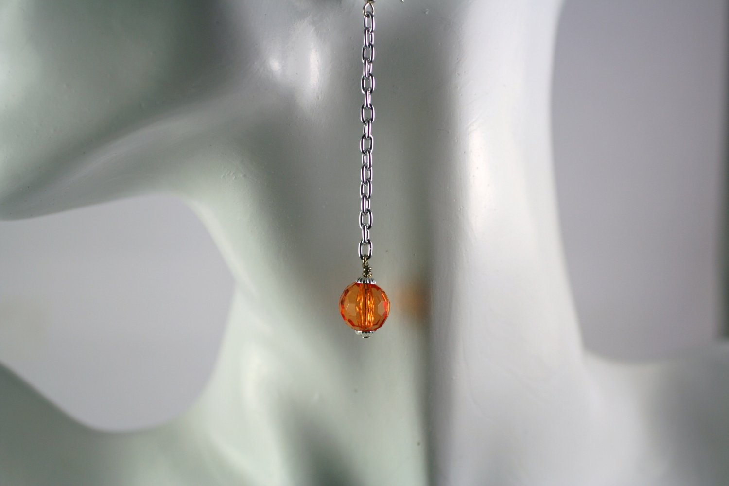 Silver Chain Drop Dangle Earrings with Orange Round Fauceted Beads Handcrafted Jewelry