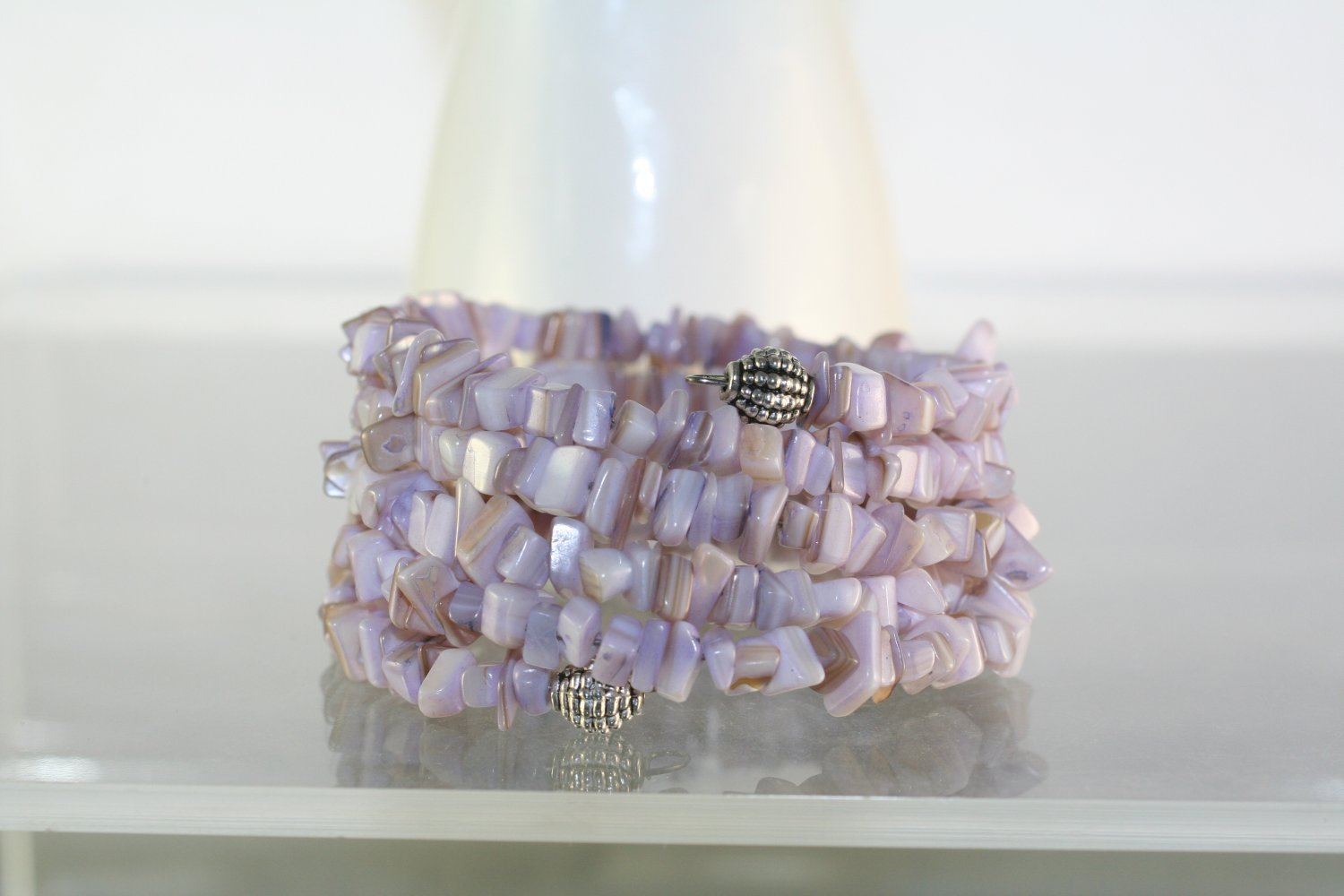 Lavender Mother of Pearl Wrap Bracelet  Hand Crafted Jewelry