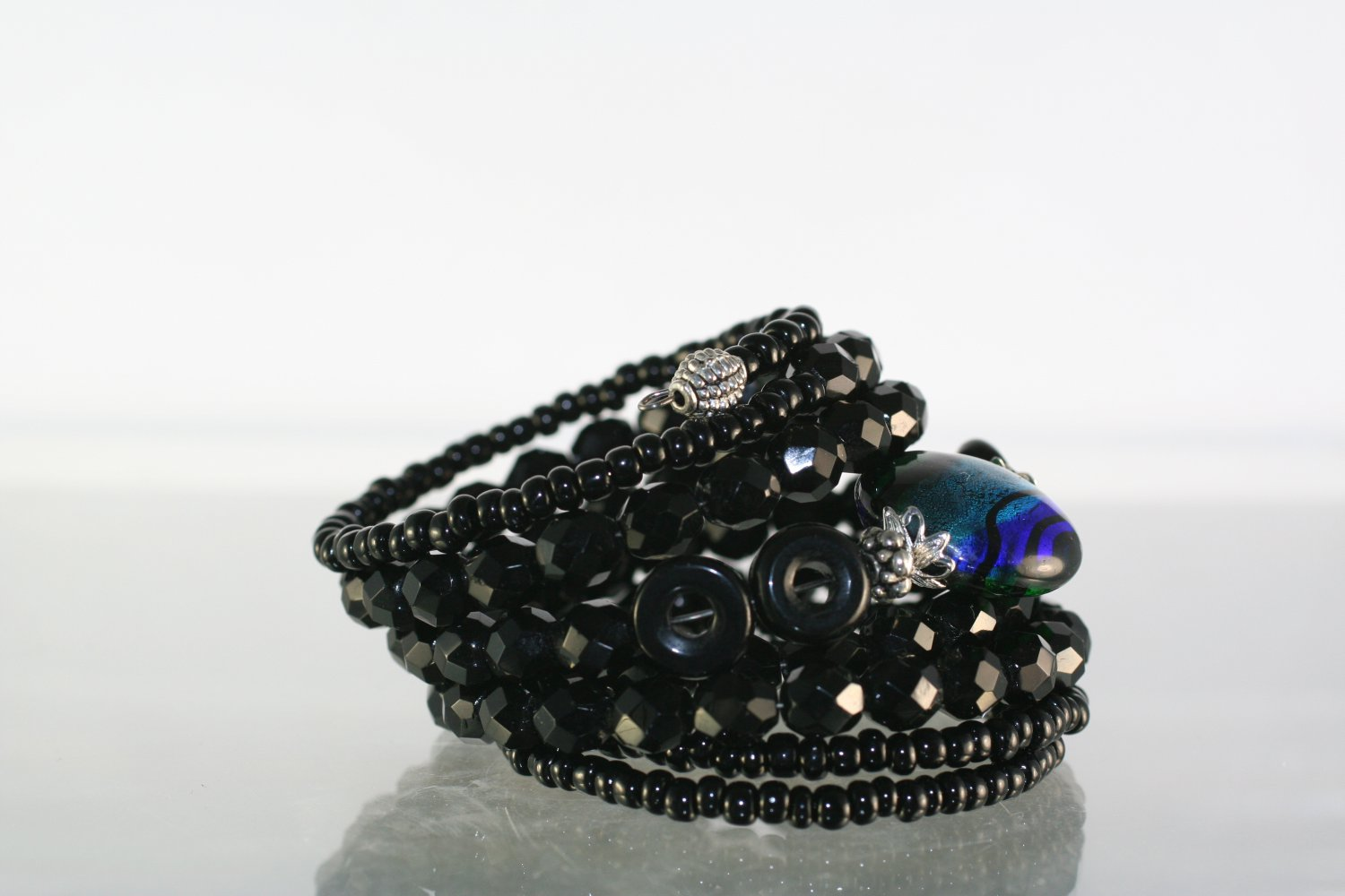 Wrap Bracelet Black Beaded with Lampwork Art Glass Focal Bead Hand Crafted Jewelry