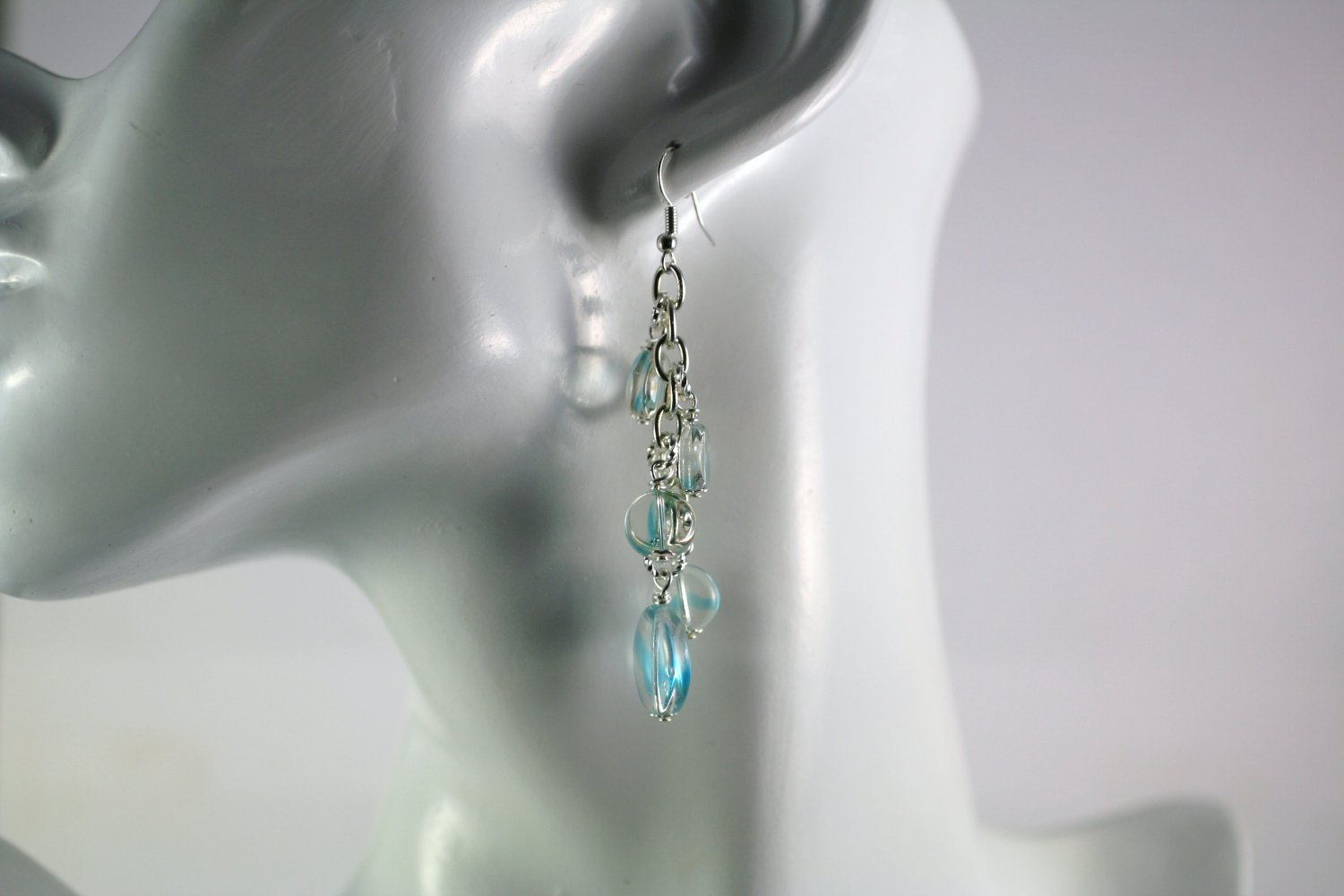 Silver and Blue Art Glass Beaded Chain Cluster Earrings  Handmade Jewelry