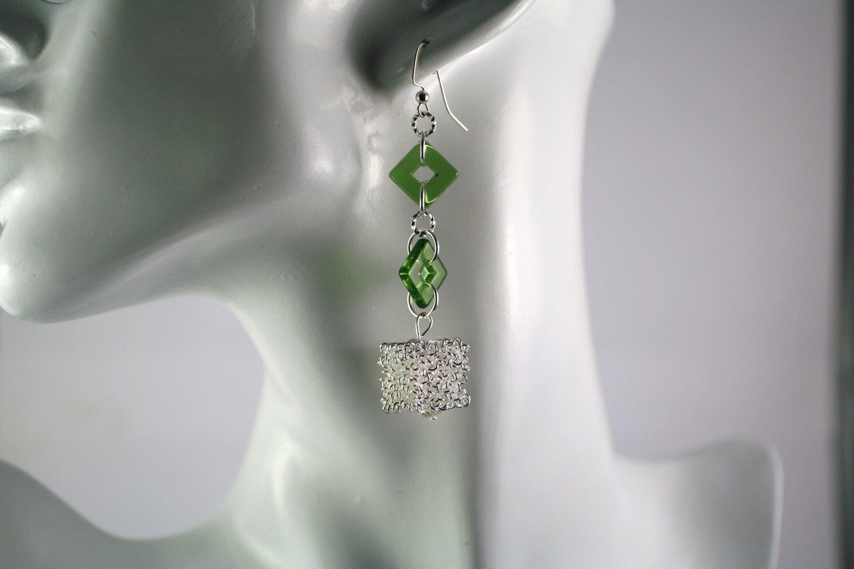 Silver and Green Art Glass Dangle Earrings  Handmade Jewelry