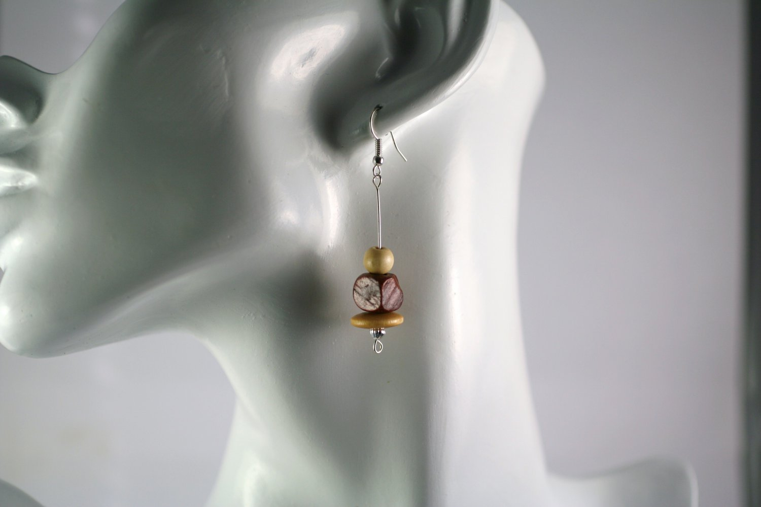 Light and Dark Wood Silver Beaded Drop Earrings     Handcrafted Jewelry