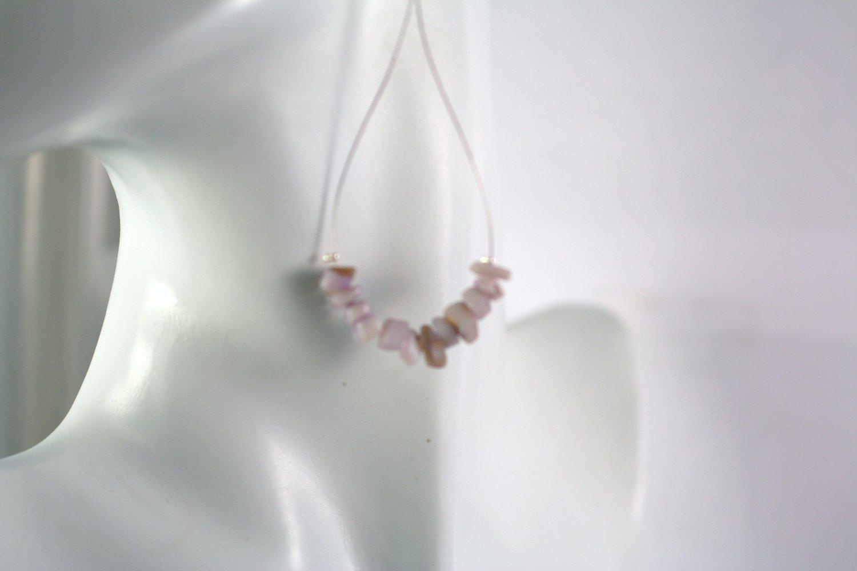 Silver Teardrop Shape Purple Mother of Pearl Beaded  Earrings     Handcrafted Jewelry