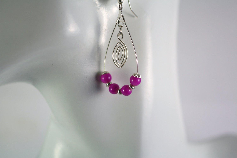 Silver Teardrop Shape Pink Glass Beaded  Earrings     Handcrafted Jewelry