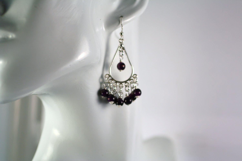 Chandelier  Silver Teardrop Shape Purple Glass Beaded  Earrings     Handcrafted Jewelry