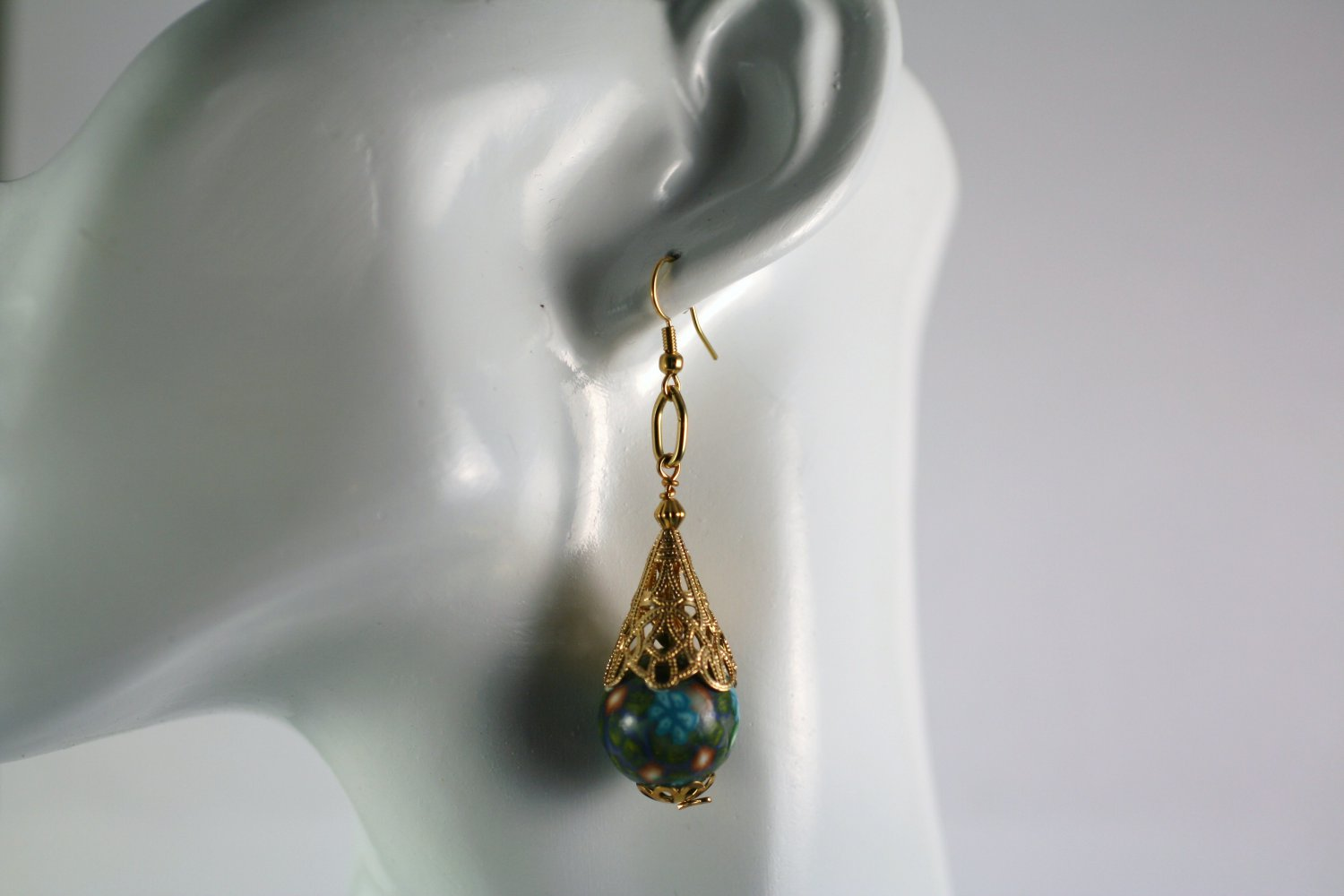 Large Gold Tone Filigree Polymer Clay Flower Beaded  Earrings     Handcrafted Jewelry