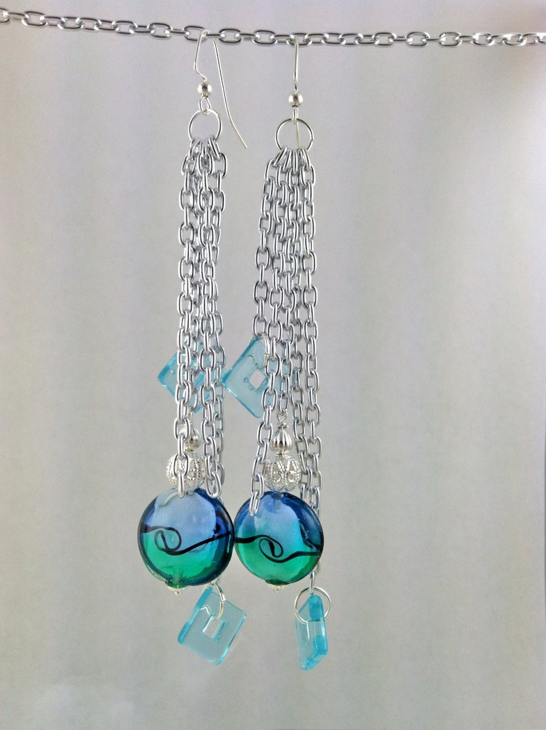 Large Diva Blue and Silver  Lampwork Tassle Earrings Hand Crafted