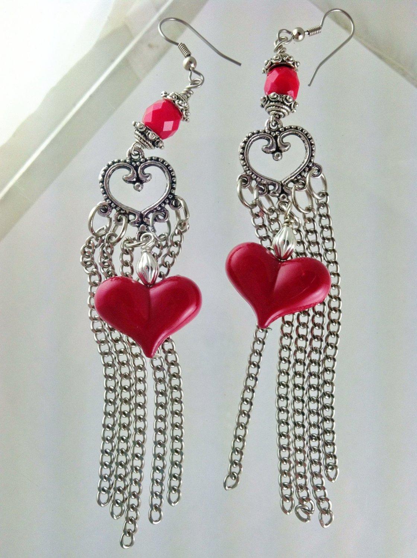 Red Heart Long Sexy Chain Tassel Earrings