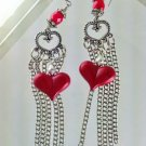 Red Heart Long Sexy Chain Tassel Earrings