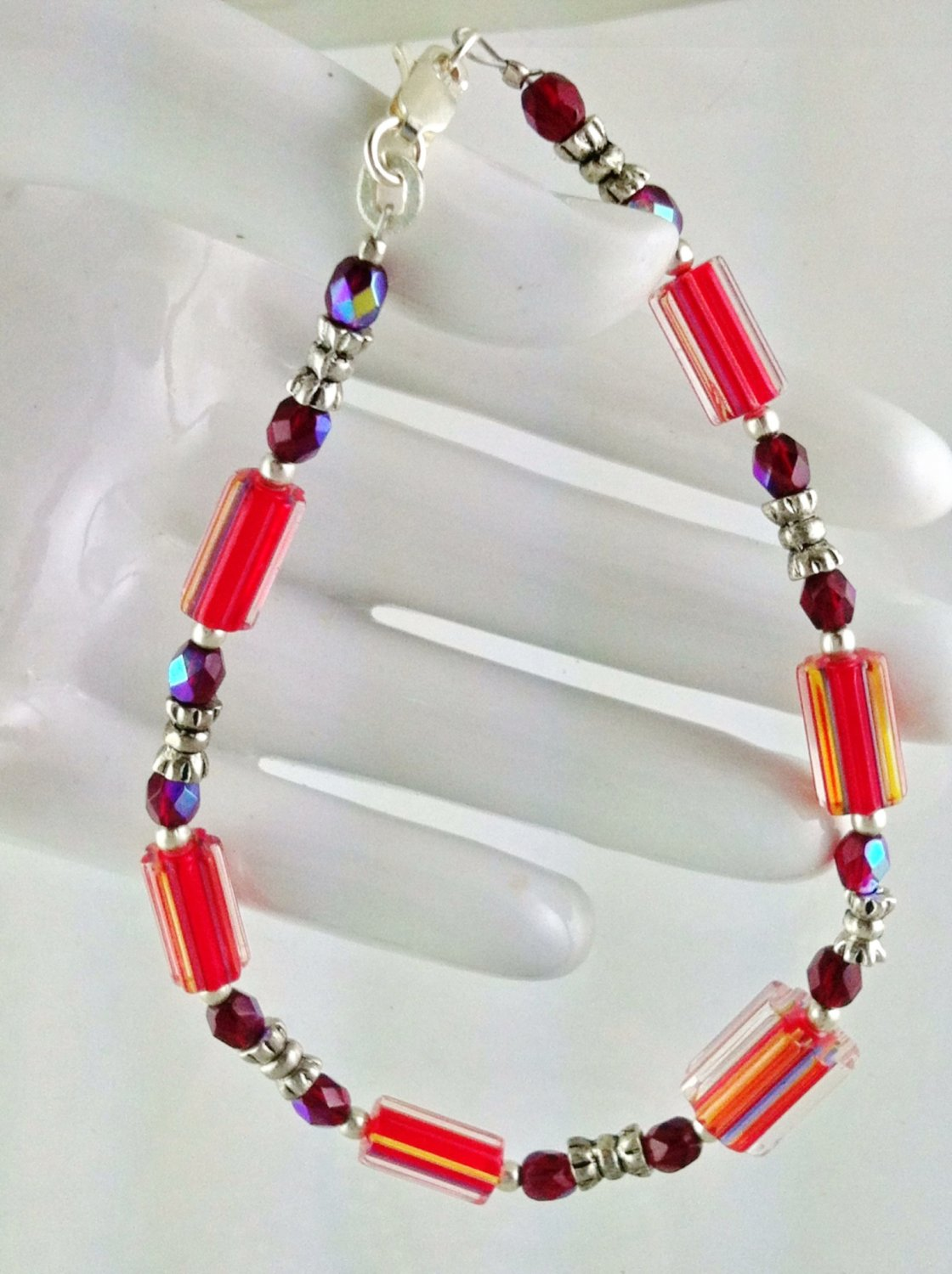 Red Furnace Glass and Sterling Silver Bracelet   Hand Crafted