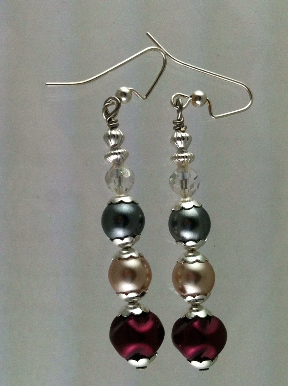 Silver with Burgandy, Cream, Dark Gray Glass Pearls Earrings