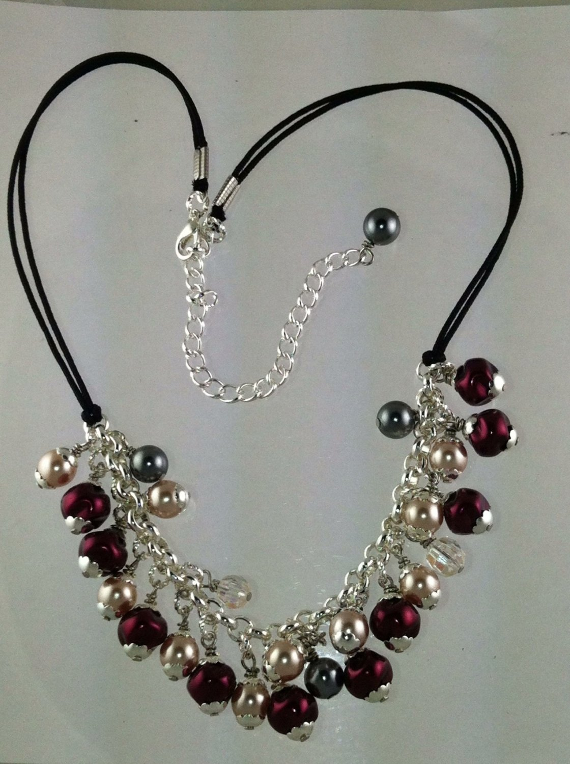 Silver with Burgandy, Cream, Dark Gray Glass Pearls Necklace
