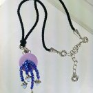 Purple and Blue Dragonfly Charm Necklace with Earrings