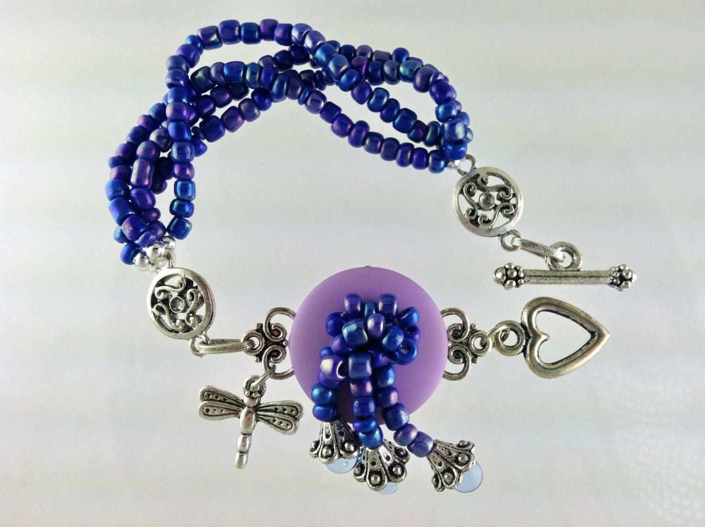 Purple and Blue Dragonfly Charm Bracelet