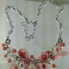 Pink Victorian Style Flower Necklace and Earrings