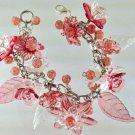 Pink Floral Victorian Style Fringe Bracelet