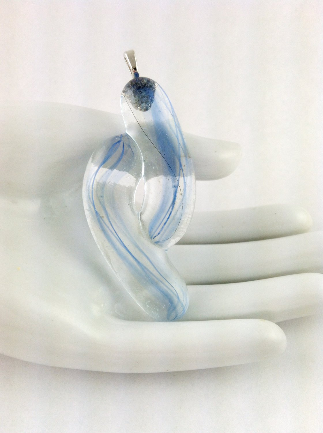 Fused Glass Blue and Clear Abstract Art Pendant
